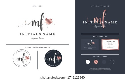 initial letter MF M F handwriting logo design with butterfly. Feminine branding for beauty salon, massage, cosmetics or spa.