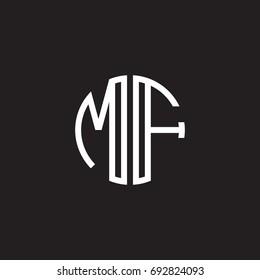 Initial letter MF, minimalist line art monogram circle shape logo, white color on black background