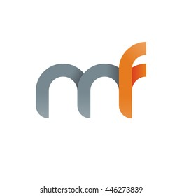 initial letter mf modern linked circle round lowercase logo orange gray