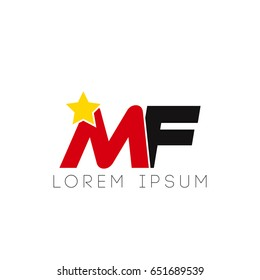 Initial letter mf yellow star logo red black
