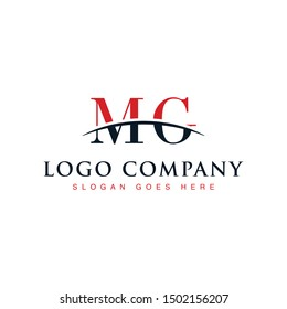 Initial letter MG, overlapping movement swoosh horizon logo company design inspiration in red and dark blue color vector