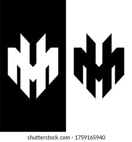 Initial letter MH or HM logo template with sporty geometric line art illustration in flat design monogram symbol