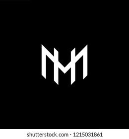 Initial letter MH HM minimalist art logo, white color on black background.