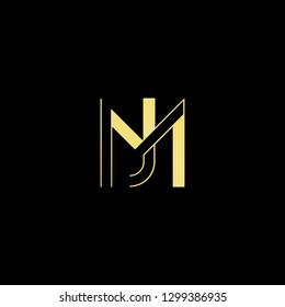 Initial letter MJ JM minimal monogram art logo, gold color on black background.