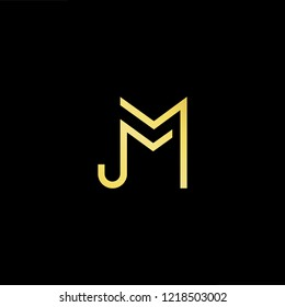 Initial letter MJ JM minimalist art logo, gold color on black background.
