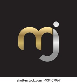 initial letter mj linked round lowercase logo gold silver black background