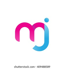 initial letter mj linked round lowercase logo pink blue purple