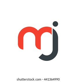 initial letter mj linked round lowercase logo red