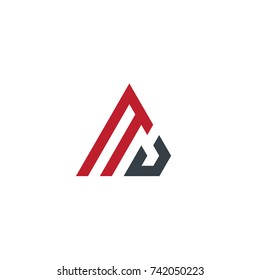 Initial Letter MJ Linked Triangle Design Logo