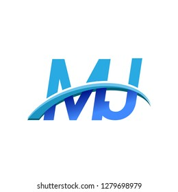 initial letter MJ logotype company name colored blue and swoosh design. vector logo for business and company identity.