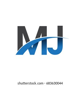 initial letter MJ logotype company name colored blue and grey swoosh design. vector logo for business and company identity.