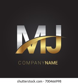 initial letter MJ logotype company name colored gold and silver swoosh design. isolated on black background.
