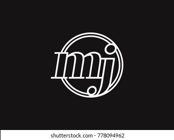 Initial letter mj lowercase outline inside the circle logo template white on black background