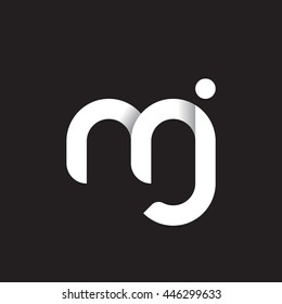 initial letter mj modern linked circle round lowercase logo white black