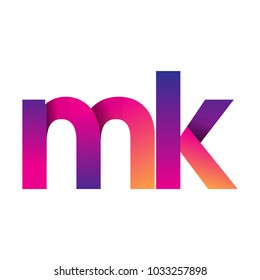 Initial Letter MK Logo Lowercase, magenta and orange, Modern and Simple Logo Design.