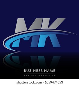 initial letter MK logotype company name colored blue and grey swoosh design. vector logo for business and company identity.