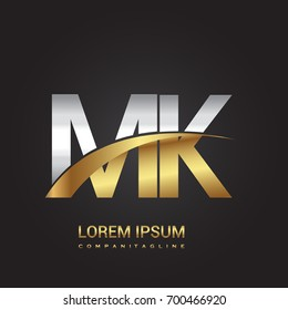 initial letter MK logotype company name colored gold and silver swoosh design. isolated on black background.