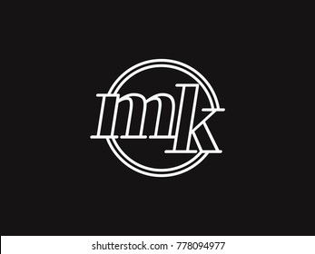 Initial letter mk lowercase outline inside the circle logo template white on black background