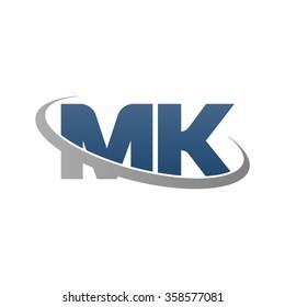 initial letter MK swoosh ring company logo blue gray