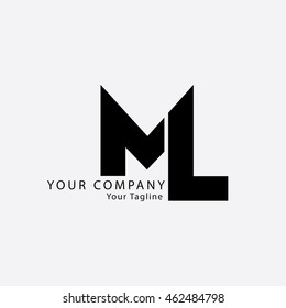 Initial Letter ML Isolated Logo Black