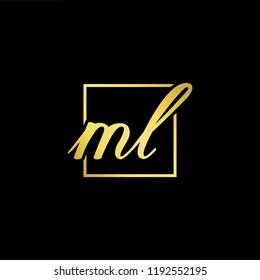 Initial letter ML LM minimalist art monogram shape logo, gold color on black background