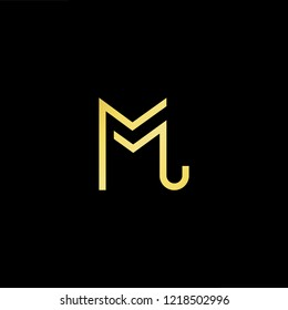 Initial letter ML LM minimalist art logo, gold color on black background.