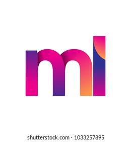 Initial Letter ML Logo Lowercase, magenta and orange, Modern and Simple Logo Design.