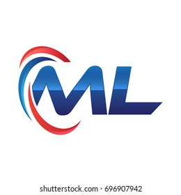 initial letter ML logo swoosh red blue