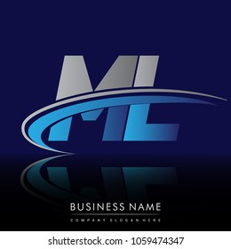 initial letter ML logotype company name colored blue and grey swoosh design. vector logo for business and company identity.