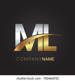 initial letter ML logotype company name colored gold and silver swoosh design. isolated on black background.