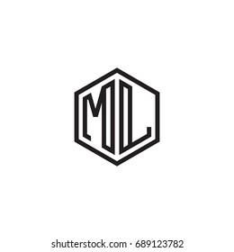 Initial letter ML, minimalist line art monogram hexagon logo, black color