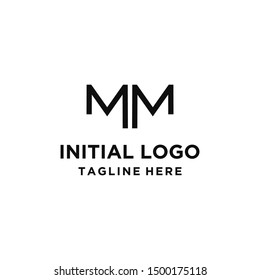 Initial letter MM ,line art monogram shape logo design .