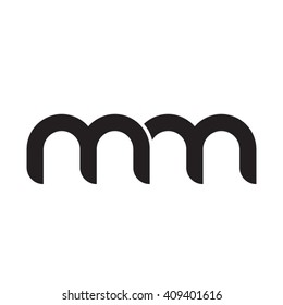 initial letter mm linked round lowercase monogram logo black