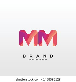 Initial letter MM logo with colorful background, letter combination logo design for creative industry, web, business and company. - Vector