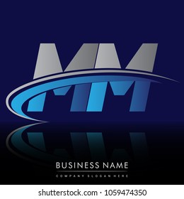 initial letter MM logotype company name colored blue and grey swoosh design. vector logo for business and company identity.