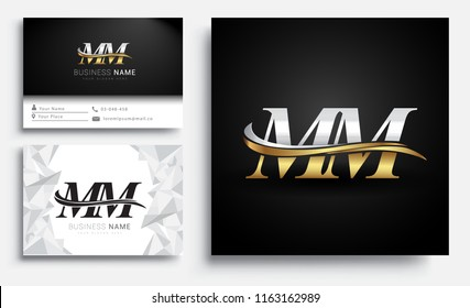 initial letter MM logotype company name colored gold and silver swoosh design. Vector sets for business identity on white background.