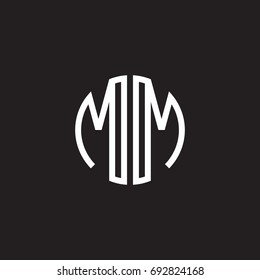 Initial letter MM, minimalist line art monogram circle shape logo, white color on black background