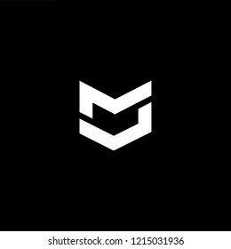 Initial letter MM MU UM MV VM minimalist art logo, white color on black background.