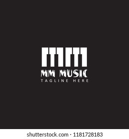 initial letter MM music piano logo template design