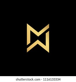 Initial letter MM MW WM WW minimalist art monogram shape logo, gold color on black background