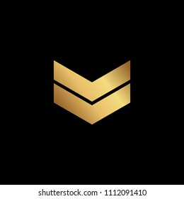 Initial letter MM VV MV VM  minimalist art logo, gold color on black background