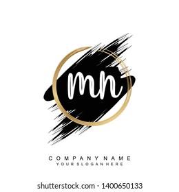 Initial letter MN beautiful handwriting logo vector template