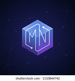 Initial letter MN, block chain, looping mono line circuit letter on hexagon cube logo, blue magenta gradient color on black blue network background