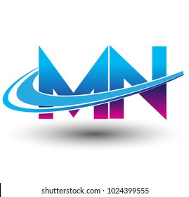initial letter MN logotype company name colored blue and magenta swoosh design. vector logo for business and company identity.