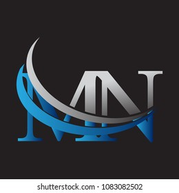 initial letter MN logotype company name colored blue and grey swoosh design. vector logo for business and company identity.