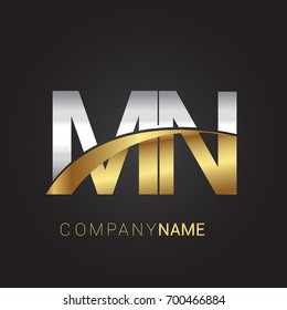 initial letter MN logotype company name colored gold and silver swoosh design. isolated on black background.