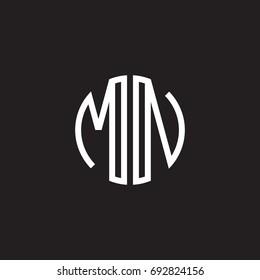 Initial letter MN, minimalist line art monogram circle shape logo, white color on black background