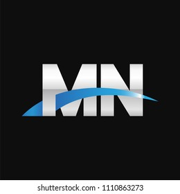 Initial letter MN, overlapping movement swoosh logo, metal silver blue color on black background