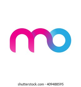 initial letter mo linked round lowercase logo pink blue purple