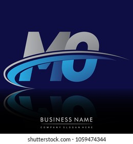 initial letter MO logotype company name colored blue and grey swoosh design. vector logo for business and company identity.